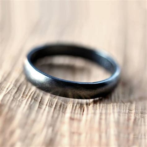 mens black and silver wedding bands black silver wedding band brushed s or s unisex