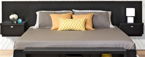 King Headboard With Attached Nightstands by Series 9 Designer Floating King Size Headboard With