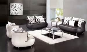 living room interior design with black and white furniture