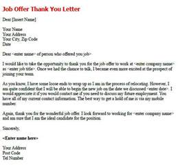 Thank You Offer Letter follow up letter exles after