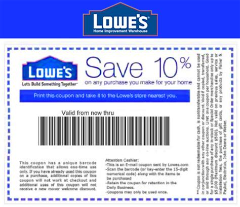 printable lowes coupon 20 off 10 off codes december 2016