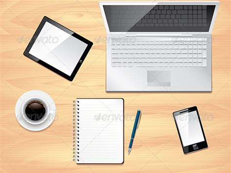 Office Desk Top View Photo Realistic Vector By Andegro4ka Office Desk Top View