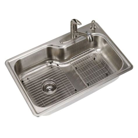 stainless steel single bowl kitchen sink glacier bay all in one drop in stainless steel 33 in 4