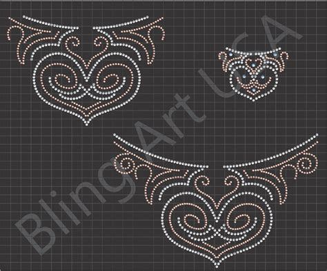 rhinestone neckline bling template patterns design