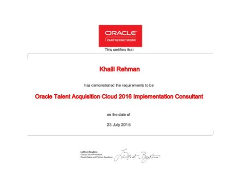 Implementation Consultant by Oracle Talent Acquisition Cloud 2016 Implementation Consultant Certif