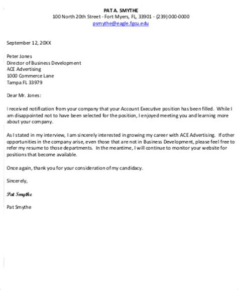 sample employment rejection letter  examples  word