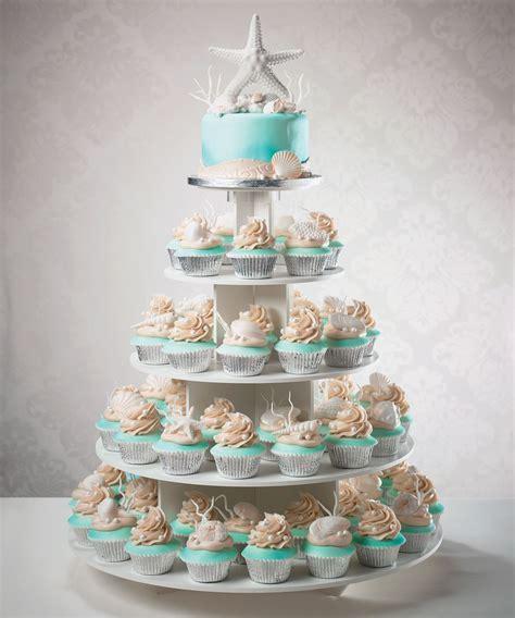 Wedding cake and cupcake tower for a beach destination