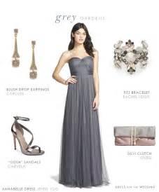full length grey bridesmaid dress