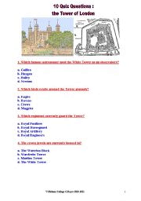 quiz questions london english teaching worksheets the tower of london