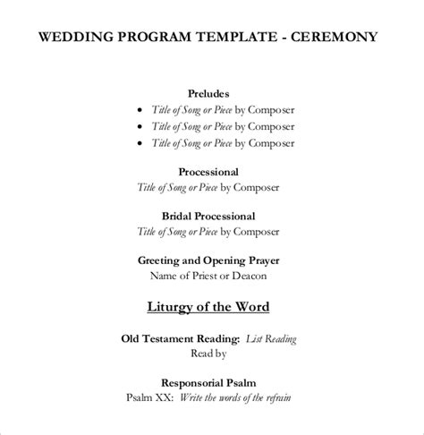 Wedding Ceremony Song List Template by Wedding Program Templates 15 Free Word Pdf Psd