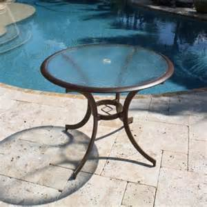 Tempered Glass Patio Table Hospitality Rattan Coco Palm 36 In Patio Dining Bistro Table With Tempered Glass Bronze
