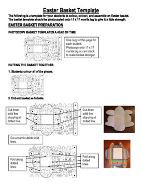 easter basket template with assembly instructions by clare