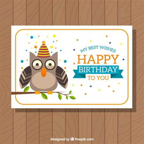 owl card template birthday card template with owl vector free