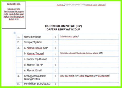 format cv terbaru 2017 contoh format cv calon pending desa tahun 2017