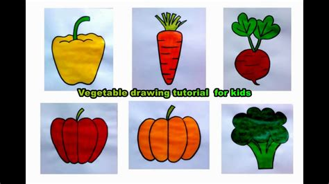 Drawing Vegetables by Easy Vegetable Drawing Tutorial For