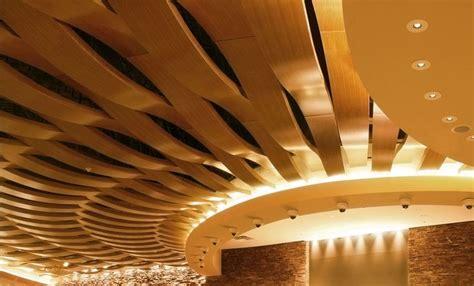 Curved False Ceiling Design by Acoustic Suspended Ceiling In Wood Tile Curved