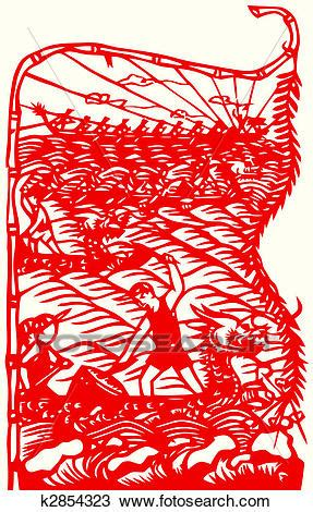 dragon boat drawing drawing of chinese paper cut of dragon boat race k2854323