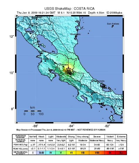 earthquake costa rica gsc350 january 2009 earthquake in costa rica