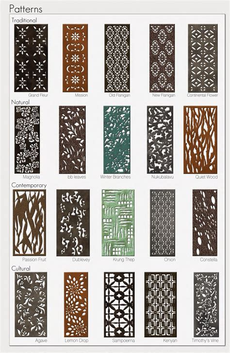 20 Parasoleil patterns in several finishes for aluminum