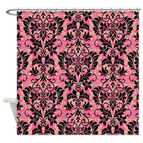 pink damask shower curtain pink and black damask shower curtain by glamourgirls2