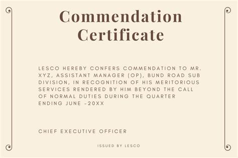 certificate of commendation template commendation certificate sle and wording semioffice