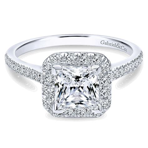 14k white gold princess cut halo with pave