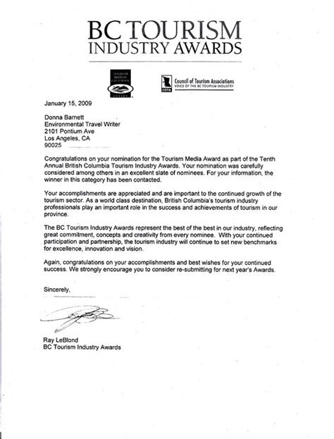 Bank Nominee Letter Format Chasing Clean Air Bc Tourism Industry Awards Congratulations On Your Nomination Letter