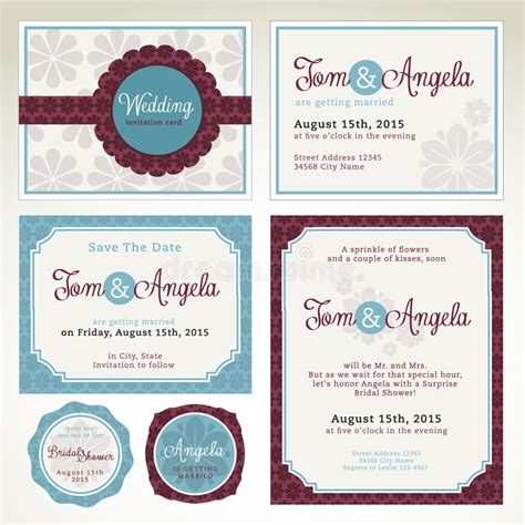 ensemble template card descripteurs de carte d invitation de mariage illustration