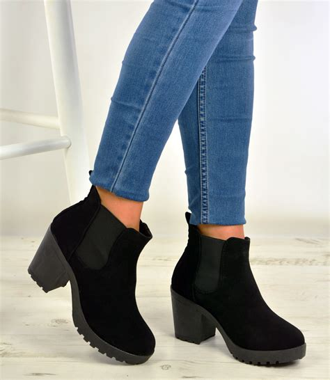 Winter Shoes Pumps by New Womens Ankle Chelsea Boots Chunky Block Heels Winter