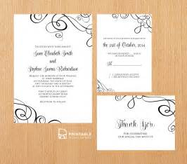 downloadable invitation template abstract ribbon swirls invitation set wedding invitation