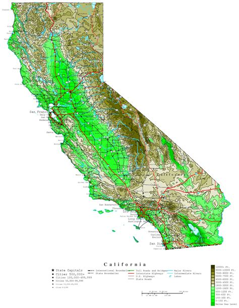 california maps california contour map