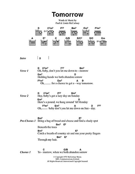 my lyrics paul mccartney tomorrow sheet by paul mccartney lyrics chords