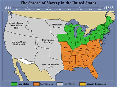 map of the united states slavery the spread of slavery 1844 1863 abraham lincoln s classroom