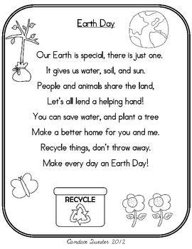 Earth Day Poem Pack/Mini Unit | Earth day poems, Earth