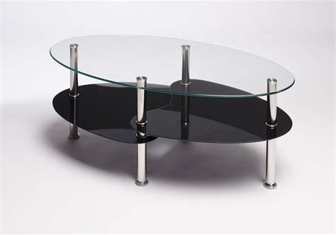 Black Clear Oval Glass And Steel Cara Coffee Table Cara Coffee Table