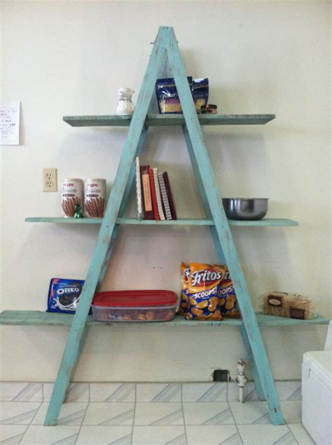 image wooden ladders blue ladder books shelves