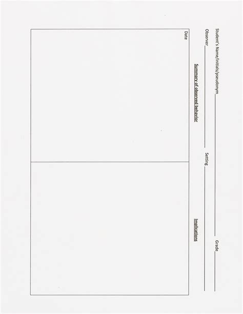 classroom observation form template best photos of preschool observation form template