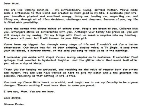 thank you letter to foster letters to s day tributes from perthnow the