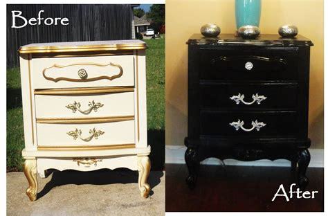 painted furniture ideas before and after black paint turns an old dresser into a chic new piece