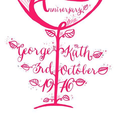 40th wedding anniversary ruby personalised gift print by