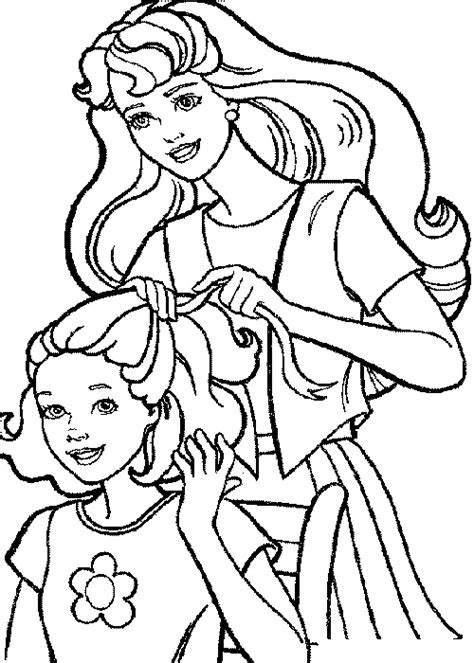 barbie hair coloring page barbie coloring pages her hair tie gt gt disney coloring pages
