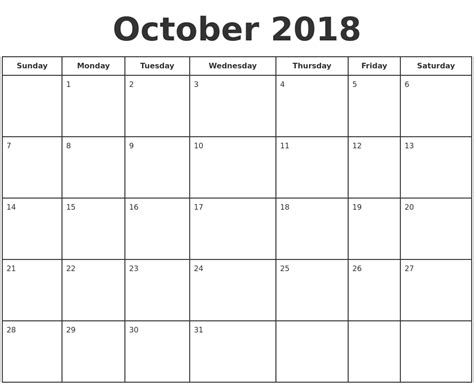printable calendar oct 2018 october 2018 print a calendar