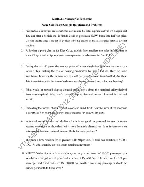Mba Managerial Economics Important Questions by Common Guidelines For Model Question Paper Pattern