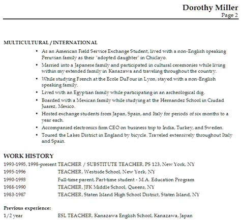 Esl Resume by Resume For An Esl Susan Ireland Resumes