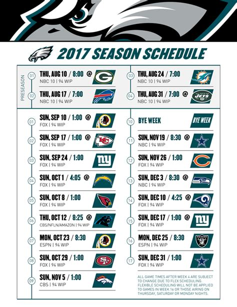 printable eagles tickets nfl thursday night football schedule 2017 printable