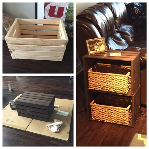 end table made from home depot wine crates my