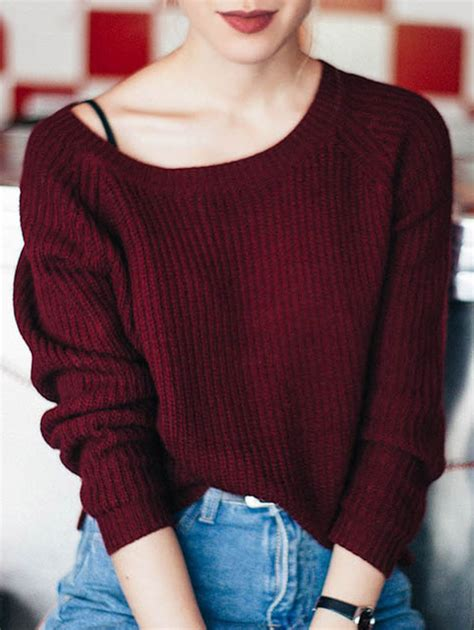 boat neck loose sweater wine red sweaters zaful - Red Boat Neck Sweater