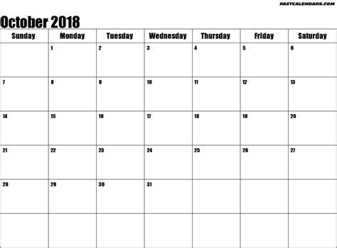 Calendar October 2018 October 2018 Calendar Template Monthly Calendar 2017