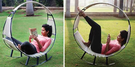 who invented swings design students invented a rocking chair hammock