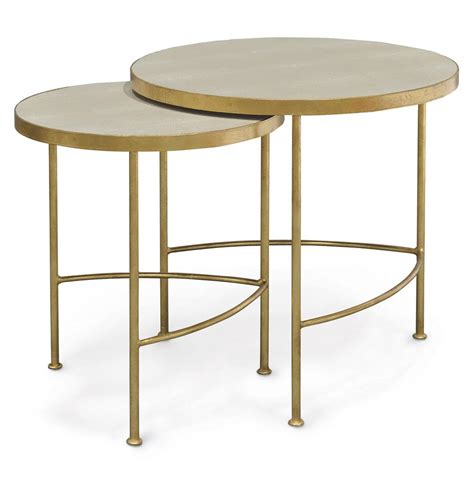 Gold Nesting Tables by Regency Faux Shagreen Taupe Gold Nesting